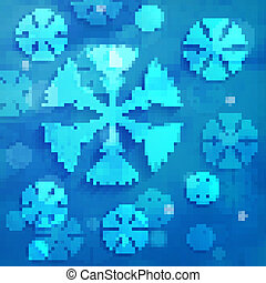 abstract snowflakes on blue clouds background