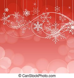 abstract snowflakes on red bokeh background. vector