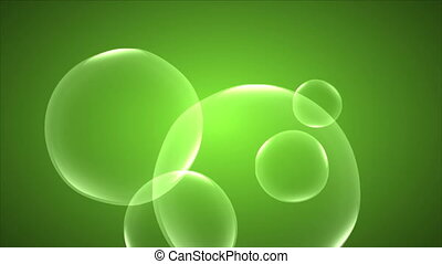 abstract soap bubbles on a green background