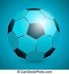 Abstract soccer ball 3d blue