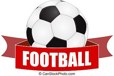 Abstract soccer ball wth red football banner
