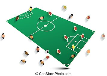 Abstract Soccer Field with Players. Football Team Vector Illustration.