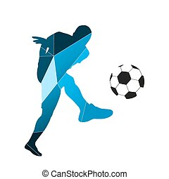 Abstract soccer player. Vector silhouette