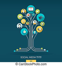 Abstract social media background. Growth tree concept