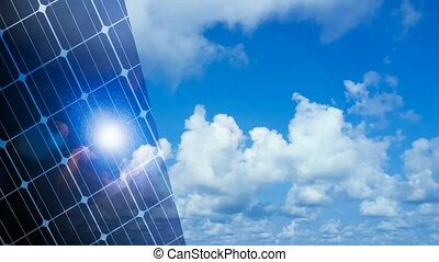 abstract solar panels with cloud time lapse