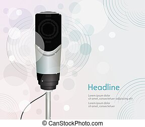 Abstract sound background with microphone.