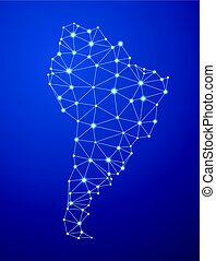 Abstract South America communications map. - Blue abstract...