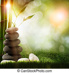 Abstract spa backgrounds with bamboo and pebble