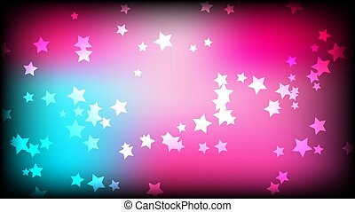 Abstract space background. A multicolored asterisk, stars on a pink and blue bright colored background. Vector illustration