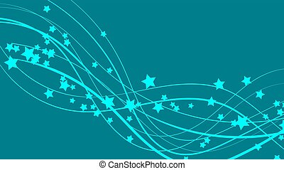 Abstract space background with blue lines and stars. Beautiful stars on a blue bright colored background