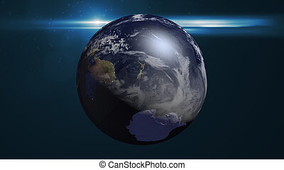 Abstract space background with earth and flare