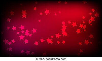 Abstract space background with red asterisks. Multi-colored beautiful stars on a red bright colored background. Vector illustration