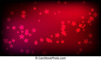 Abstract space background with red asterisks. Multi-colored beautiful stars on a red bright colored background