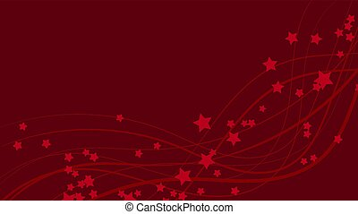 Abstract space background with red wavy lines and red asterisks. Red stars on a red bright colored background. Vector illustration