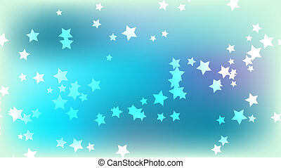 Abstract space background with stars. Multicolored stars on a bright blue colored background