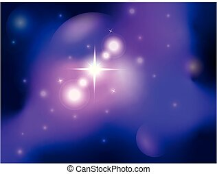 Abstract Space landscape with stars, nebulae and planets. Background for text - a galaxy in the nebula. star dust.