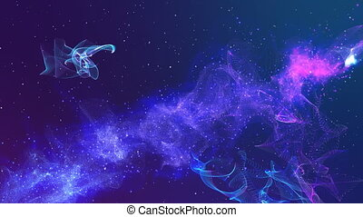 Abstract space particular in blue and violet color