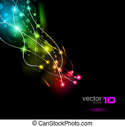 Abstract Space Scenary of llight with Raibow Colours Background