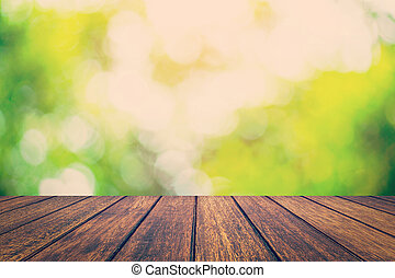 abstract, space., vaag, bokeh, hout, groene achtergrond, tafel