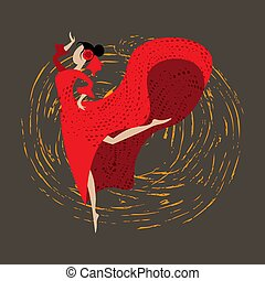 Abstract spanish girl in traditional dress dancing flamenco