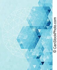 Abstract sparkle triangles background with circle network line art