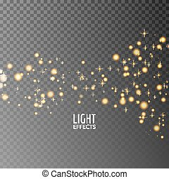 Abstract sparkles on dark transparent background. Lights effects