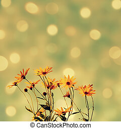 Abstract sparkling background with flowers