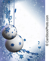 Christmas sparkling decorating bulbs with snowflakes and stardust