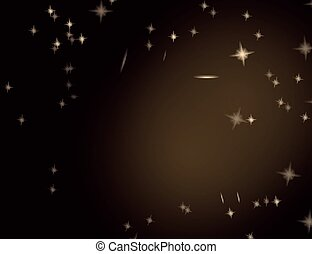 Abstract Sparkling Stars on Golden Holiday Background.