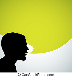 Abstract speaker silhouette with big green bubble - place...