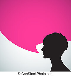 Abstract speaker silhouette with big purple bubble - place...