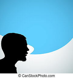 Abstract speaker silhouette with big blue bubble - place for your content