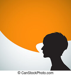 Abstract speaker silhouette with big orange bubble - place...