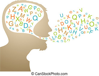 Abstract speaker silhouette with colorful letters