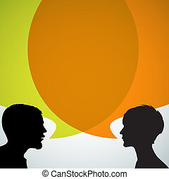 Abstract speakers silhouettes with big orange bubble (chat, ...