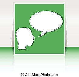 Abstract speakers silhouettes with big orange bubble (chat, dialogue, talk or discussion) vector background