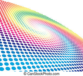 Abstract spectrum spiral circle pattern background with copy space. No gradients and effects.