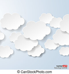 Abstract speech bubbles in the shape of clouds used in a social networks on light blue background. Vector eps10 illustration
