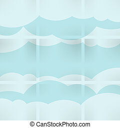 Abstract speech bubbles in the shape of clouds used in a social networks on light blue background