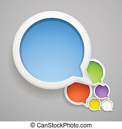 Abstract speech cloud of color bubbles. Ready fo? a text