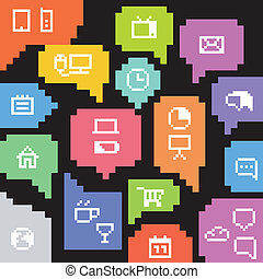 Abstract speech clouds and media icons