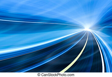 Abstract speed motion in urban highway road tunnel, blurred motion toward the light. Computer generated colorful illustration. Light trails, fiber optics technology background.