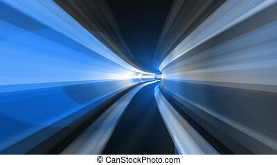 Abstract speed motion in a blue virtual reality tunnel. Flying in space and time at the speed of light with this high-energy visualization of flying through hyperspace. VJ Seamless loop