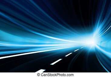 Abstract speed motion in urban highway road tunnel, blurred ...