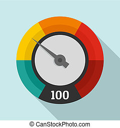 Abstract speedometer icon, flat style