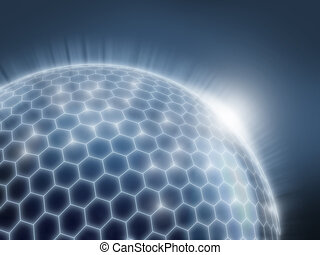 abstract sphere as a global network 3d illustration