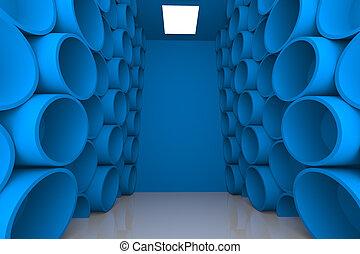 abstract sphere blue room shelves