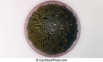 Abstract sphere composed of cubes.