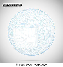 Abstract Sphere Diagram Technology Background Vector Illustration