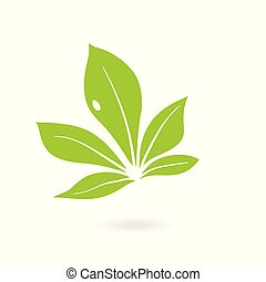 Abstract sphere green leaf logo. green leaf ecology nature vector icon.